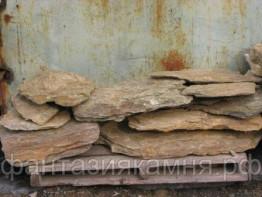 Камень - сланец кварцованный 60-100 кг (желтый с белыми прожилками)