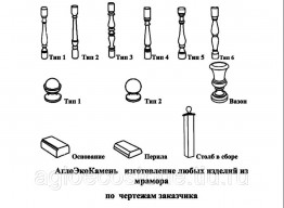 Производство балюстрад, столбов, перил, шаров, колонн из мрамора России (белый, серый)
