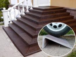 Плитка для крыльца совмещенная проступь и подступенок «Состаренный габбро» 1500*380*190мм, коричневый