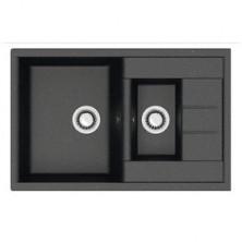 Мойка кухонная из камня ZETT lab. 210/Q4, 775x500x218 мм, матовая, врезная, черная
