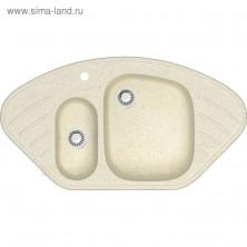 Мойка кухонная из камня ZETT lab. 23/Q2, 945x500x175 мм, матовая, врезная, бежевая