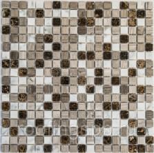 Мозаика каменная Bonaparte (Бонапарт) Detroit (POL) Полированная Сетка 305x305 мм. Чип 15х15х4 мм. Бежевый