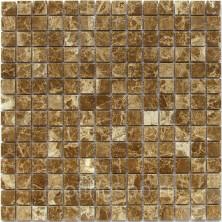 Мозаика каменная Bonaparte (Бонапарт) Madrid-20 POL Сетка 30,5x30,5 см. Чип 20х20х7 мм. Коричневый