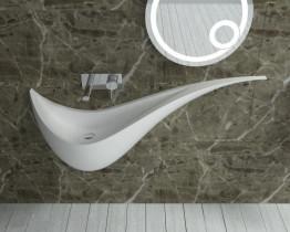 Раковина настенная NS bath из искусственного камня, мат./глянец, NSS-13300