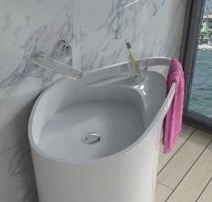 Раковина напольная с полотенцедержателем NS bath из искусственного камня, глянцевая, NSF-8572G
