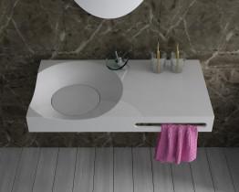 Раковина подвесная со столешницей и полотенцедерж. NS bath из искус. камня, матовая, NSS-9048M