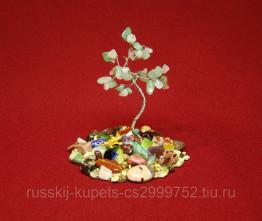 Дерево счастья с нефритом и розовым кварцем малое