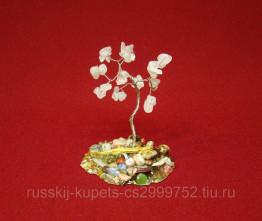 Дерево счастья с розовым кварцем малое