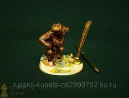 """Письменный прибор на подставке из селенита с самоцветами """"Медведь охотник"""" 8 см, 150 гр"""