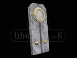 "Sv23-00159 Часы ""Погон - лейтенант"" мрамор + лемезит 60*45*150 мм"