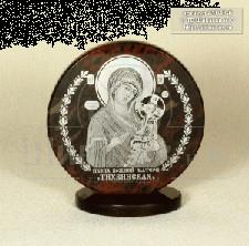 """Sv35-00162 Икона """"Богоматерь Тихвинская""""обсидиан круглая малая настольная 60*25*65 мм"""