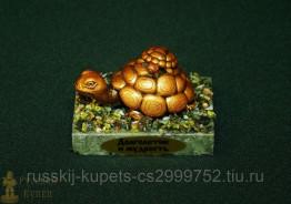"""Композиция из змеевика """"Черепаха"""" 3,5 см, 100 гр"""
