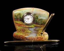 """Sv44-00371 Письменный прибор из селенита """"Часы"""" Лето ручей 110*65*100мм"""