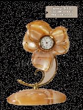"""Sv44-00229 Часы """"Цветочек"""" из селенита 95*50*128 мм"""