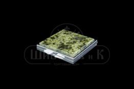 Sv23-00060 Зеркало карманное квадратное с накладкой змеевик (Баженовский) двустороннее 60*70*10 мм