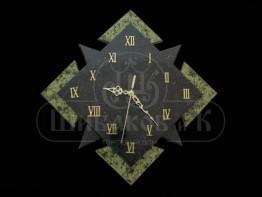 """Sv23-00088 Часы """"Звездный квадрат"""" настенные из змеевика 320*320*45 мм"""