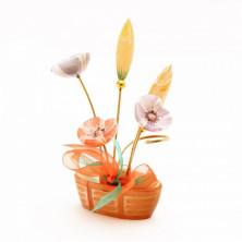 Sv44-00450 Букет из селенита в корзинке 5 цветков