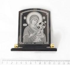 Sv35-00179 Икона Богоматерь Тихвинская настольная прямоугольная с 2 подсвечниками обсидиан 90*30*100мм