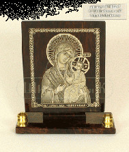 Sv35-00147 Икона Богоматерь Иверская настольная прямоугольная с 2 подсвечниками обсидиан 90*30*100мм