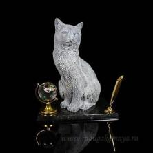 """Sv23-00242 Письменный прибор из змеевика и мрамолита """"Кошка"""" 170*110*205мм"""