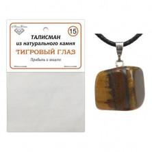 Талисман из натурального камня Тигровый глаз со шнурком