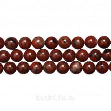 Бусины каменные, яшма, красная крапчатая, 8мм, 48 шт., низка