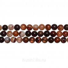Бусины каменные, агат, полосатый, 6мм, кофейного цвета, 63 шт., низка