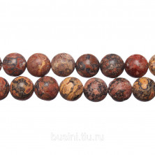 Бусины каменные, яшма, леопардовая, 10мм, 37 шт., низка