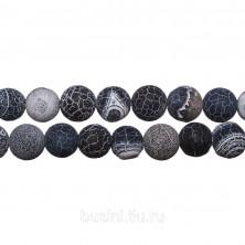 Бусины каменные, агат вены дракона, матовые темно-серые, 10мм, 38 шт., низка