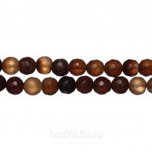 Бусины каменные, агат, кофейного цвета, 8мм, граненый, 47 шт., низка