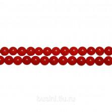 Бусины каменные, коралл, красный, 6мм, 65 шт., низка