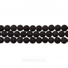 Бусины каменные, шунгит, серо-черный, 6мм, 64 шт., низка