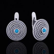 Серьги 'Фивы', цвет бело-голубой в чернёном серебре
