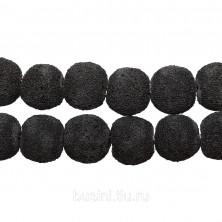 Бусины каменные, вулканическая лава, серо-черная, 14мм, пористая, 32 шт., низка