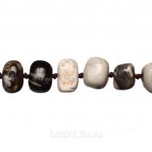 Бусины каменные, яшма (имитация), серая, 14*9 - 18*14мм, неправильной формы, 12 шт., низка