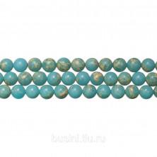 Бусины каменные, реголит, голубой, 6мм, 63 шт., низка