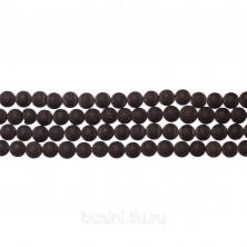 Бусины каменные, шунгит, черный, 4мм, 90 шт., низка