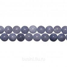 Бусины каменные, аквамарин (имитация), 8мм, 46 шт., низка