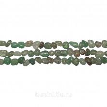Бусины каменные, авантюрин, зеленый, 3-7мм, неправильной формы, 80 шт., низка