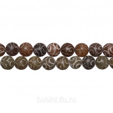 Бусины каменные, агат с гравировкой, 8мм, 49 шт., низка