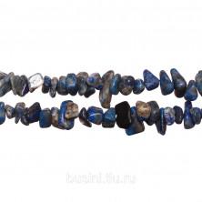 Бусины каменные, лазурит, сколы, 3-10мм, 220 шт., низка