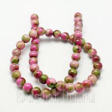 Бусины каменные, жадеит, салатово-розовый, 8мм, 50 шт., низка