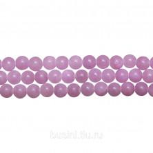Бусины каменные, жадеит, сиренево-розовый, 6мм, 64 шт., низка