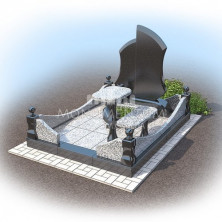 Гранитный цоколь-ограды захоронения