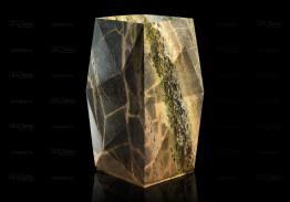 Раковина из зеленого мрамора с подсветкой слива