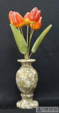 Ваза кальцит с цветами селенит 7*7*30 см