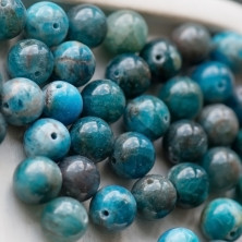 Бусина апатит 10, цвет темно-голубой, 10 мм