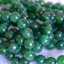 Бусина агат 8, граненая, цвет зеленый, колорир., 8 мм