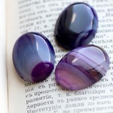 Кабошон агат овальный, цвет фиолетовый, 30x22x6.8 мм