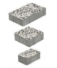 """Тротуарная плитка """"СТАРЫЙ ГОРОД"""" - А.1.Фсм.4 Стоунмикс Бело-чёрный, комплект из 3 видов плит"""